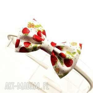 opaska do włosów kokardka strawberry, z kokardą, truskawki, kokarda