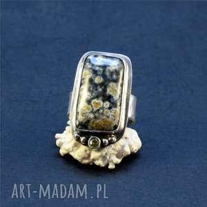 jaspis i kwiaty oceanu - cyrkonia, srebro oksydowane, jaspis oceaniczny, srebro, jaspis
