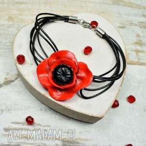 bransoletka czerwony mak, kwiat, czerwona biżuteria
