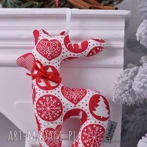 Pomysł na prezent święta! Renifer świąteczny biało-czerwony