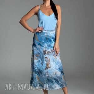 długa letnia spódnica trapezowa z szyfonu w kolorze niebieskim - kolekcja