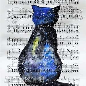 KOSMICZNY KOT akwarela artystki plastyka Adriany Laube, akwarela, kosmos, kot