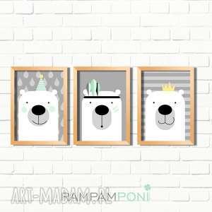 pokoik dziecka zestaw plakatów dla dzieci trzy urocze misie a4, miś, pokoik, ozdoba