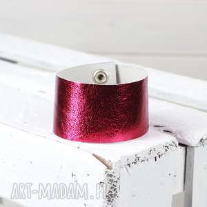 hand-made bransoletka skóra naturalna różowa