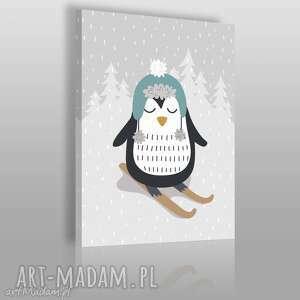 obraz na płótnie - zwierzę zima pingwin 50x70 cm 69002, zwierzę, pingwin, narty