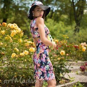 pod choinkę prezent, sukienka mona mini ingrid, plecy, dopasowana, kwiaty