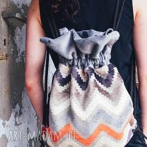 oryginalny prezent, bbag plecak zigzag, plecak, worek, bbag, aksamitny, welurowy