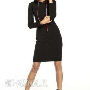 sukienki sukienka sportowa z kapturem wzorzystymi dodatkami, t293, czarna / wzór łowicki