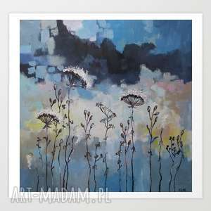 niebieska łąka - abstrakcja,akwarela formatu 40/40 cm, obraz, łąka, akryl