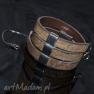 bransoletki bransoletka skórzana z włosiem w kolorze brązu, skóra, elegancja