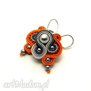 kolczyki sutasz szaro-pomarańczowe, soutache, eleganckie, sznurek, perełki, kolorowe