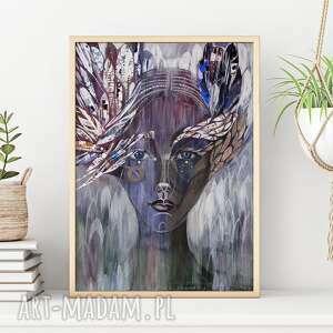 oryginalny prezent, plakat a2 - uskrzydlona, plakat, portret, twarz, kobieta