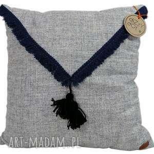 poduszki poduszka dekoracyjna,niebieski melange z frędzlami blue