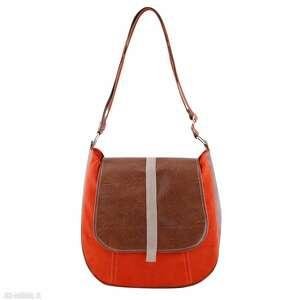 sashka - torebka na ramię listonoszka pomarańcz i brąz, modna, wygodna