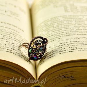 SPARKS - PIERŚCIONEK, pierścionek, miedź, wirewrapping, pociechajewelry, kryształki