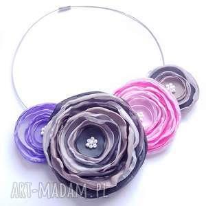 Kwiatowa kolia - naszyjnik z tkaniny, kwiaty, kolia, naszyjnik, elegancki, rękodzieło