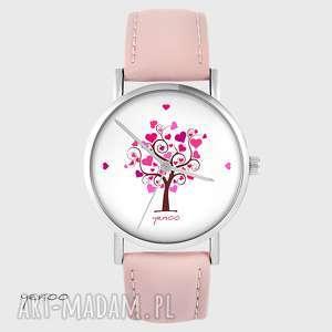 zegarek - drzewo miłości pudrowy róż, skórzany, zegarek, drzewo, serce