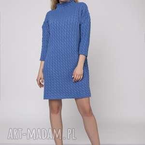 swetry dzianinowa sukienka, suk006 niebieski mkm, dzianinowa, prosta, dzianina, wzór
