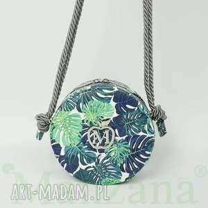 urocza okrĄgŁa listonoszka w palmy torebka na sznurku w stylu boho od manzana