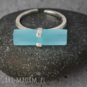 madamlili 925 srebrny pierścionek aqua chalcedon - kamień, prezent