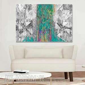 nowoczesny obraz abstrakcja las 120 x 80 czarno biały z turkusem na ścianę do salonu