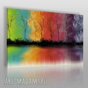 obraz na płótnie - drzewa kolorowy 120x80 cm 60801, drzewa, kolorowy, odbicie