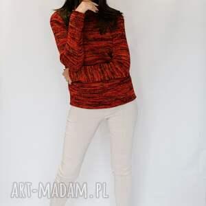 półgolf czerwono-pomarańczowo-czarny, sweter damski, damski z golfem