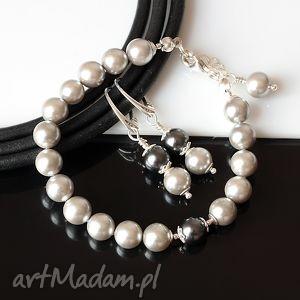 Srebrzysty komplet, perły, seashell, srebro, komplet