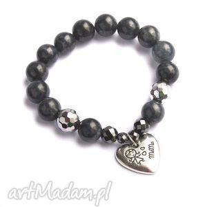 bransoletki dla mamy - pomysł na prezent jadeit szary, mama biżuteria