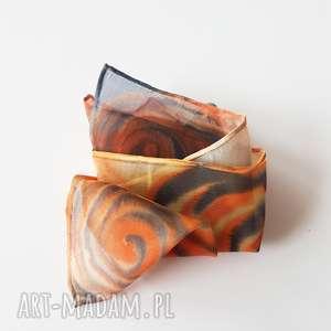 Ręcznie malowana poszetka - pomarańcze i granaty krawaty