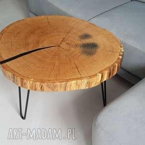 Stolik kawowy z plastra dębu stoły sciete i pociete stolikkawowy