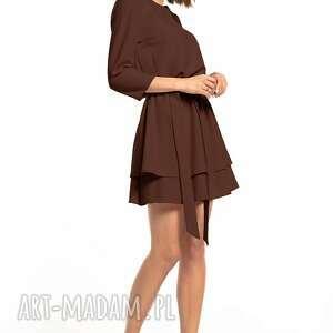 elegancka sukienka z podwójną spódnicą, t320, brązowa, elegancka