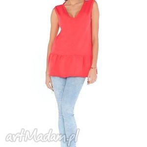 sukienki bluzka s_4 koral, bluzka, dekolt, falbanka, luźna, wygodna, dresówka