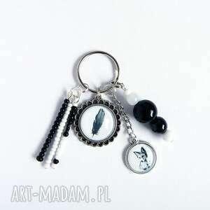 breloczek - piórko, lis, breloczek, do kluczy, unikat, prezent