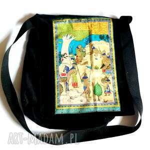 torba artystyczna elegancka w stylu boho,czarna sztruksowa,41cm na 33cm