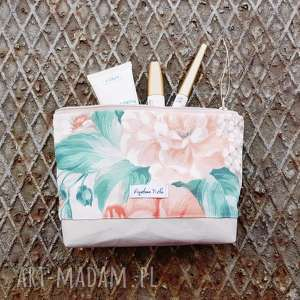 kwiatowa kosmetyczka - ,kosmetyczka,vintage,kwiaty,organizer,saszetka,torebka,