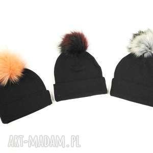 czapka jesienna z pomponem - czapka na jesień, czapka dla dziecka