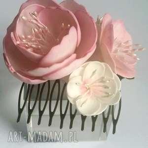 ozdoby do włosów grzebyk kwiatowy peonie sesja ślub, grzebyk, ślub, panna