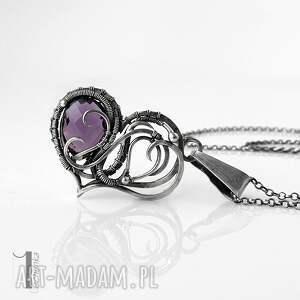 purple heart ii - srebrne serce z ametystem - naszyjnik wire wrapping naszyjnik