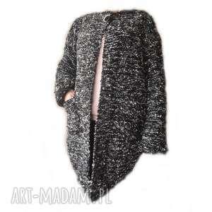 ręczne wykonanie swetry asymetryczny sweter -żakiet handmade, robiony na drutach