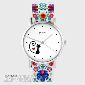 zegarek - kotek, serce folk biały, nato, zegarek, bransoletka, folkowy, nato