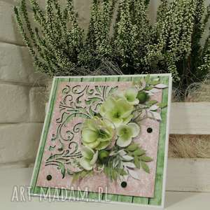 unikalny, w odcieniach zieleni, kartka, życzenia, scrapbooking
