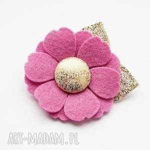 Roma spinka do włosów kwiatek różowy ozdoby momilio art spinka
