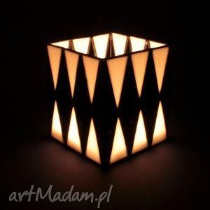 dekoracje lampion witrażowy - city, lampion, box, minimalizm, szkło, witraż
