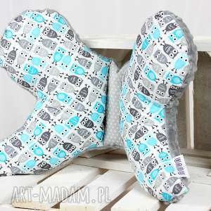 motylek- poduszka antywstrząsowa sowy niebieskie - antywstrząsowa, poduszka