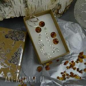 świąteczny zestaw srebrnych kolczyków z bursztynem, kolczyków, kolczyki