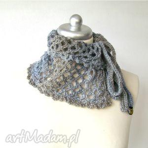 handmade szaliki otulacz ażurowy w szarościach, wiązany