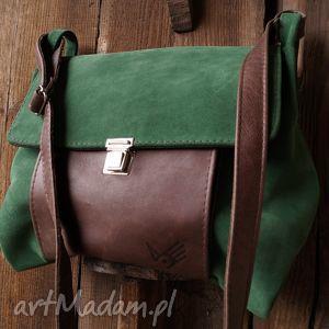 torba włóczykija a4 zieleń/brąz, zamsz, skóra, zieleń, brąz, unisex na ramię