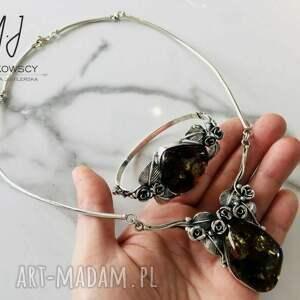 bransoletka oraz naszyjnik srebro 925 i bursztyn, pierścionek z bursztynem