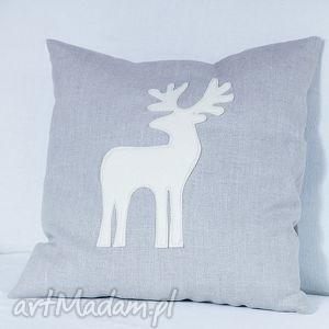 lniana poduszka z reniferem, poduszka, poszewka, świąteczna, prezent, silikon, len